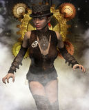 Steampunk woman in the mist Stock Images