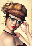Steampunk woman. Portrait of a Steampunk woman with goggles and cap stock image