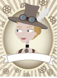Steampunk woman product label gears and goggles Stock Images
