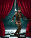 Steampunk woman on a stage Royalty Free Stock Image