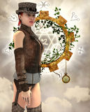 Steampunk woman with suspenders stock illustration
