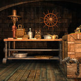 Steampunk workshop with tools Royalty Free Stock Images