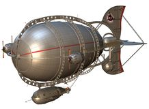Steampunk zeppelin. 3D render of a steampunk zeppelin