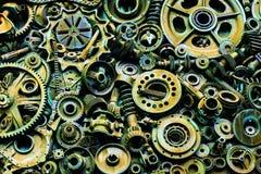 Steampunkachtergrond, machine en mechanische gedeelten, grote toestellen en kettingen van machines en tractoren royalty-vrije stock afbeelding