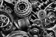 Steampunkachtergrond, machine en mechanische gedeelten, grote toestellen en kettingen van machines en tractoren royalty-vrije stock foto's