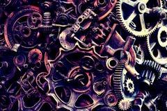 Steampunkachtergrond, machine en mechanische gedeelten, grote toestellen en kettingen van machines en tractoren stock foto