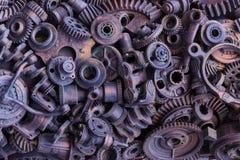 Steampunkachtergrond, machine en mechanische gedeelten, grote toestellen en kettingen van machines en tractoren royalty-vrije stock fotografie