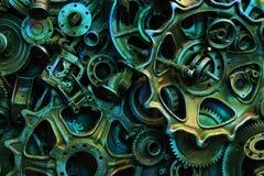 Steampunkachtergrond, machine en mechanische gedeelten, grote toestellen en kettingen van machines en tractoren stock foto's