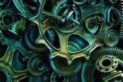 Steampunkachtergrond, machine en mechanische gedeelten, grote toestellen en kettingen van machines en tractoren royalty-vrije stock afbeeldingen