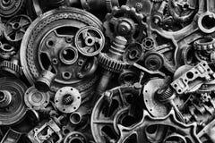 Steampunkachtergrond, machine en mechanische gedeelten, grote toestellen en kettingen van machines en tractoren royalty-vrije stock foto