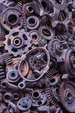 Steampunkachtergrond, machinedelen, grote toestellen en kettingen van machines en tractoren royalty-vrije stock fotografie