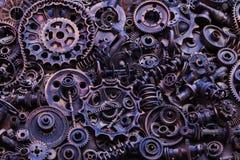 Steampunkachtergrond, machinedelen, grote toestellen en kettingen van machines en tractoren stock afbeelding