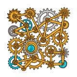 Steampunkcollage van metaaltoestellen in krabbelstijl Stock Afbeeldingen