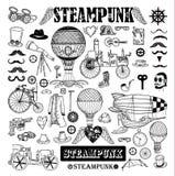 Steampunkinzameling, hand getrokken vectorillustratie Stock Afbeelding