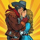 Steampunkrobots De cowboy kust het meisje royalty-vrije illustratie