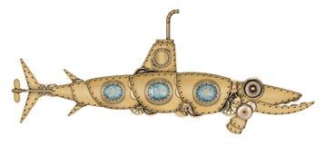 Steampunkstijl onderzeeër royalty-vrije stock afbeelding