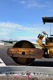 Steamroller al luogo della costruzione di strade Fotografia Stock Libera da Diritti