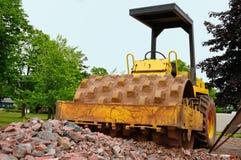 Steamroller al luogo della costruzione di strade Fotografia Stock