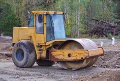 Steamroller na budowie Zdjęcia Royalty Free