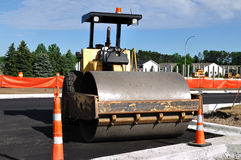 Steamroller at Road Construction Site Stock Photography