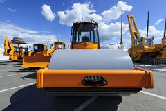 Steamroller, construction machines stock photos