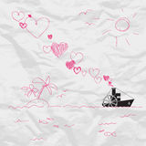 Steamship And Hearts. Stock Photography