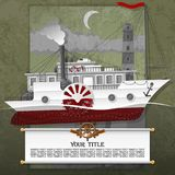 Steamship in the card, with steampunk, grunge, and vintage elements. royalty free illustration