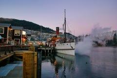 Steamship Earnslaw on Lake Wakatipu early morning royalty free stock photos