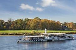 Steamship in Elbe river Royalty Free Stock Image
