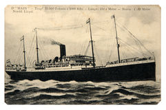The steamship floats on the sea Stock Images