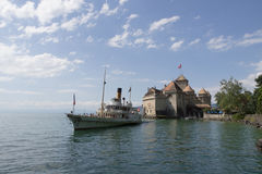 Steamship Montreux At Chillon Castle Stock Photos