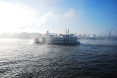 Steamship on the river Elbe Royalty Free Stock Images