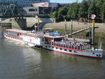 Steamship on river Weser Royalty Free Stock Photos