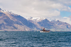 Steamship sailing on Lake Wakatipu Stock Photos