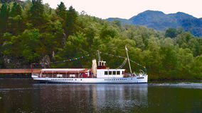 The steamship Sir Walter Scott. Named after Scotland's poet and author it sails on Loch Katrine in the Trossachs national park Royalty Free Stock Photography