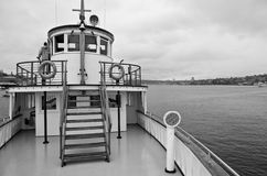 Steamship superstructure. A black and white view of the pilot house or wheel house and the forward top deck of the antique steamship, Virginia V on Lake Union Royalty Free Stock Photos