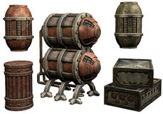 Steamunk barrels and crates Stock Images