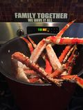 Steamy Alaskan King Crab Legs Cooking For Dinner Stock Photography