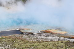Steamy blue lake, Grand Prismatic Spring. Yellowstone National Park Stock Photos