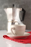 Steamy coffee with cafetiere Royalty Free Stock Image