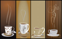 4 Steamy coffee cup background Royalty Free Stock Image