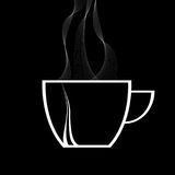 Steamy coffee cup white silhouette on black Stock Photo