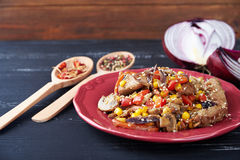 Steamy hot meat with vegetables Royalty Free Stock Photos