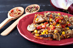 Steamy hot meat with vegetables Stock Images