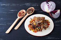 Steamy hot meat with vegetables Royalty Free Stock Photo