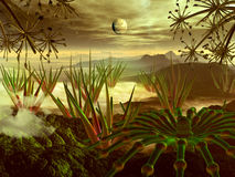 Steamy Jungle on Faraway Planet. View through alien plant life to mountains on mysterious, tropical, jungle world vector illustration