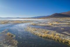 Steamy lake. Steamy waters of shallow lake in bolivian desert near Salar de Uyuni Stock Photos