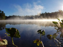 Steamy and magical Lake Winnipesaukee Stock Image