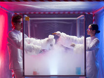 Steamy reactions in sterile chamber Stock Image