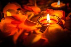 Stearinljus bland kronbladen av rosor arkivfoto